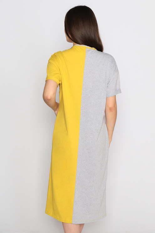 "Платье ""Go"" , серый меланж/горчица"