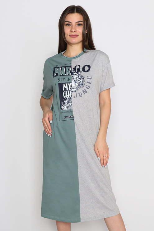 "Платье ""Go"" , серый меланж/хаки"