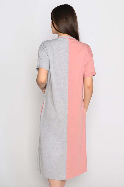 """Платье """"Go"""" , серый меланж/пудровый"""