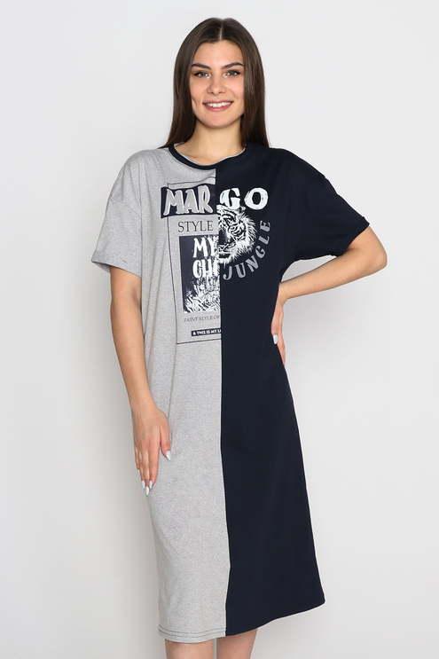 "Платье ""Go"" , серый меланж/темно-синий"