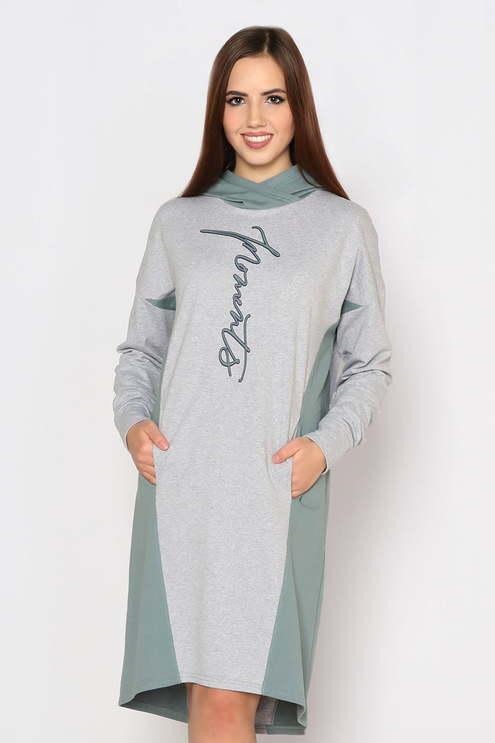 "Платье ""Граффити"", серый меланж/хаки"