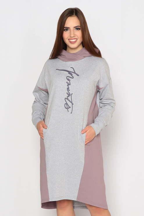 """Платье """"Граффити"""", серый меланж/какао"""