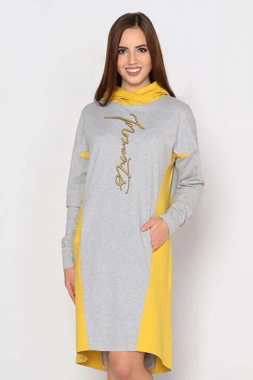 "Платье ""Граффити"", серый меланж/горчица"