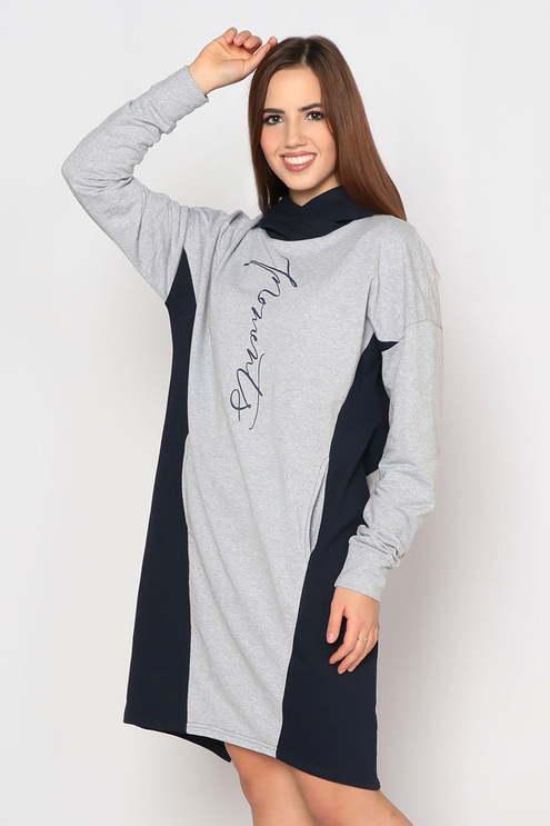 """Платье """"Граффити"""", серый меланж/темно-синий"""
