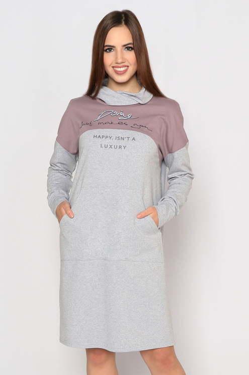 """Платье """"Винтаж"""", серый меланж/какао"""