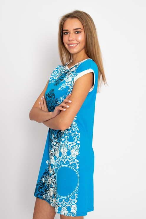 """Платье """"Кружева"""" кулирка, голубая"""