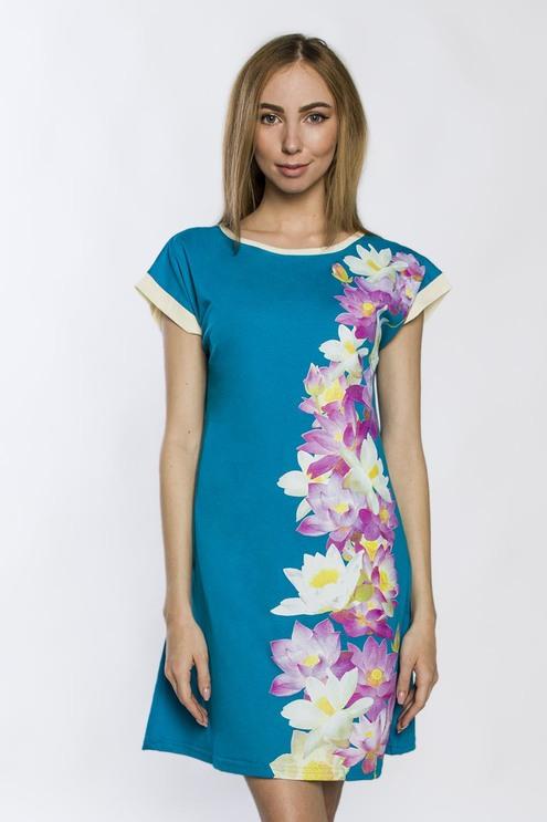 """Платье """"Лотосы"""", бирюзовый"""
